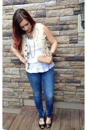 navy Ralph Lauren jeans - white unknown top - cream Ralph Lauren vest