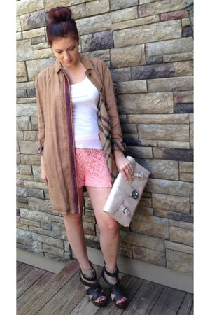 Burberry coat - clutch Ralph Lauren bag - unknown shorts - Ralph Lauren top