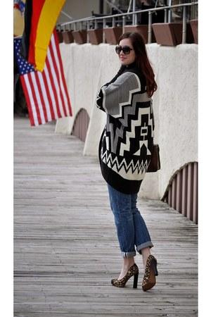 black poncho Ralph Lauren sweater - camel leopard print sam edelman heels