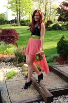 salmon high low Forever 21 skirt - black Vince Camuto boots