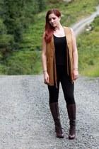 tawny Ralph Lauren vest - maroon Cole Haan boots