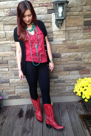 red cowgirl boots Corral boots - ruby red Ralph Lauren blouse