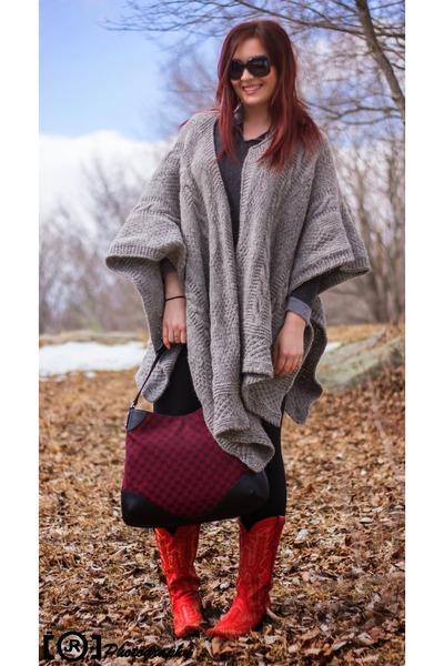 heather gray poncho alpaca handmade sweater