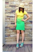 yellow ombre Ralph Lauren dress - cream unkown hat - light blue Anna Luz wedges