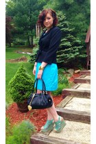 black Juicy Couture purse - turquoise blue calvin klein dress