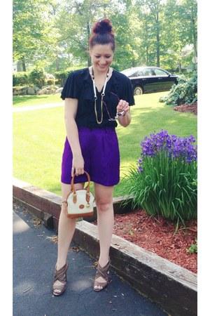 deep purple 100 silk Ralph Lauren shorts - black Ralph Lauren top