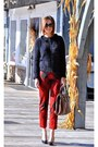Dark-gray-fuzzy-gucci-sweater-ruby-red-checkered-gucci-pants