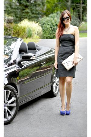 blue Betsey Johnson heels - black strapless Gap dress - black Gucci sunglasses