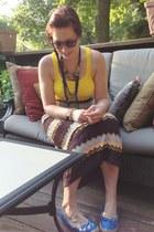 gold necklace necklace - navy DIY necklace - yellow Ralph Lauren top