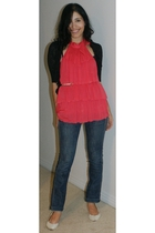 red Marciano top - black Mango sweater - blue parasuco jeans - beige Kenneth Col