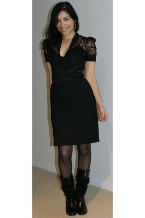 black Marciano blouse - black catherine malandrino skirt - black Marciano boots