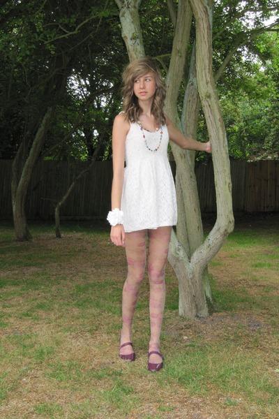 White Dresses, Purple Tights, White