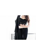 black asos coat - black Cheap Monday jeans - black crop top top
