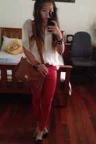 red Sportsgirl pants - white sheer button up Forever New shirt - brown bag