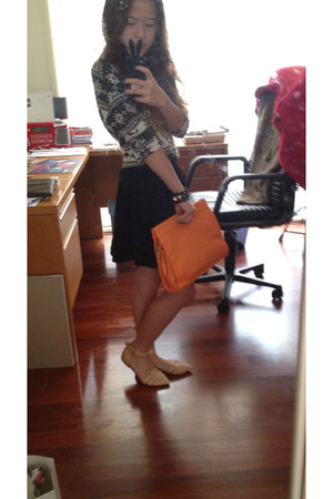 nude ankle wrap Zara flats - carrot orange leather pouch gmarket bag