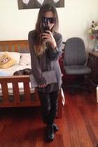 gray stylestalker shirt - black bandage mesh Ebay leggings - silver Colette bag