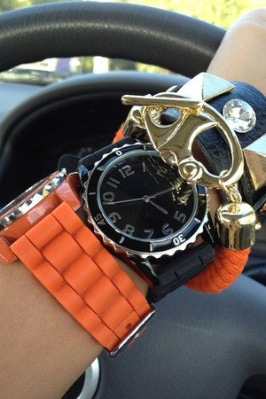 gold diva bracelet - black diva bracelet - carrot orange diva watch