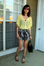 Zara top - Cooperative bag - Forever21 shorts - Karen Walker sunglasses