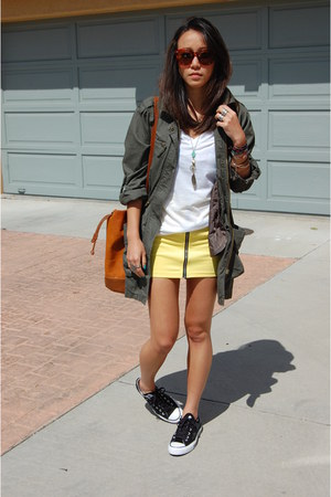 free people jacket - Converse shoes - Karen Walker sunglasses - H&M skirt
