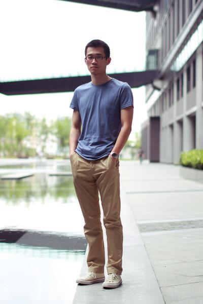 violet H&M t-shirt - mustard H&M pants