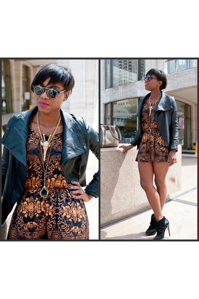 Callin chase jacket - Spitfire sunglasses - Topshop romper - LAMB heels