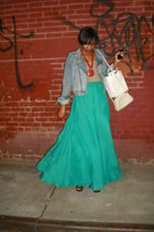 H&M jacket - vintage Coach purse - Mango necklace - Mango skirt - dvf heels - Fo