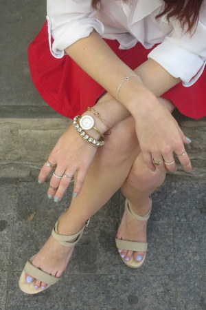 Gucci watch - Betsey Johnson bag - calvin klein sandals - American Apparel skirt