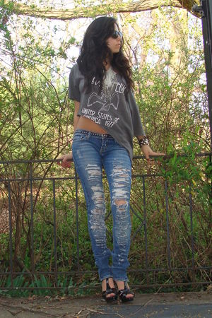 black YSL shoes - blue hollister jeans - gray Hot Topic t-shirt - white self mad