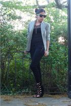 black f21 pants - black deena and ozzy shoes - silver made it myself blazer - bl