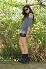 Black-f21-shoes-gray-t-shirt-blue-american-eagle-shorts