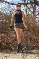 black boots - black dress - black calvin klein intimate - black calvin klein sun