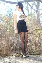 white Ed Hardy t-shirt - white Jeffrey Campbell shoes - black Ebay tights - blac