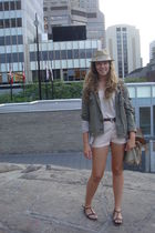 green Gap jacket - white Urban Outfitters shirt - pink Topshop shorts - beige To