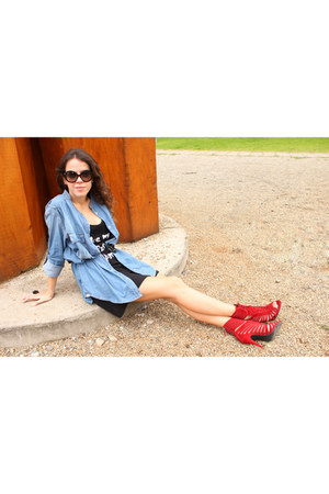 blue Bershka shirt - ruby red Zara boots - black so lovely shirt dress