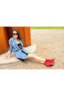Ruby-red-zara-boots-black-so-lovely-shirt-dress-blue-bershka-shirt