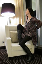 black blouse - black boots