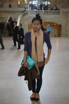 purple cableknit Gap sweater - aquamarine vibrant colors H&M bag