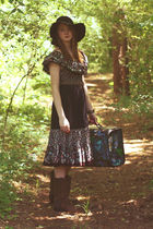 Moonshine Hill dress - brown Frye boots - black accessories - black vintage hat