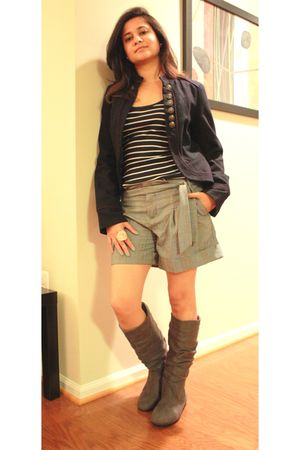 gray Anthropologie shorts - blue Forever 21 jacket - beige morado accessories