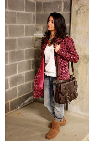 pink kensie jacket - brown bag - blue jeans - blue accessories - brown Ugg boots