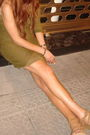 Green-zara-dress-beige-mango-shoes
