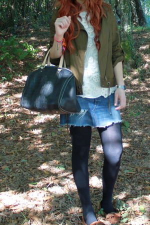 green French Connection jacket - Topshop skirt - brown Topshop shoes - black Car