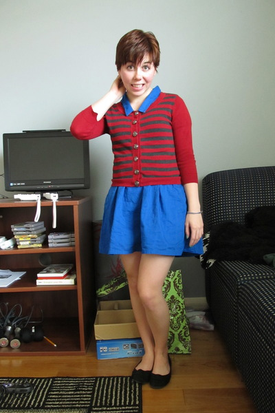 blue Urban Outfitters dress - red Forever 21 cardigan - black American Eagle fla