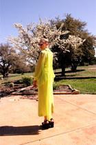 chartreuse chiffon vintage dress - pink vintage sunglasses