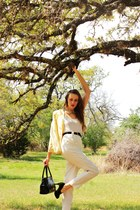 light yellow American Apparel blazer - black patent leather Vintage bag purse -