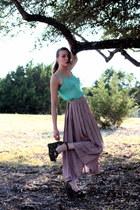 aquamarine chiffon American Apparel top - red whhttt skirt - black tapestry Jeff