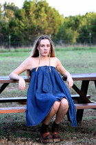 denim vintage dress - leather disco vintage boots