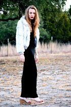 off white vintage fur whhttt jacket - black viscose American Apparel dress