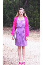 hot pink vintage cardigan - purple lavender silk BCBG dress