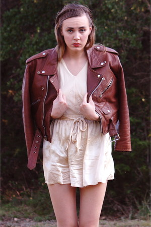 tawny leather moto vintage jacket - cream victoria secret intimate